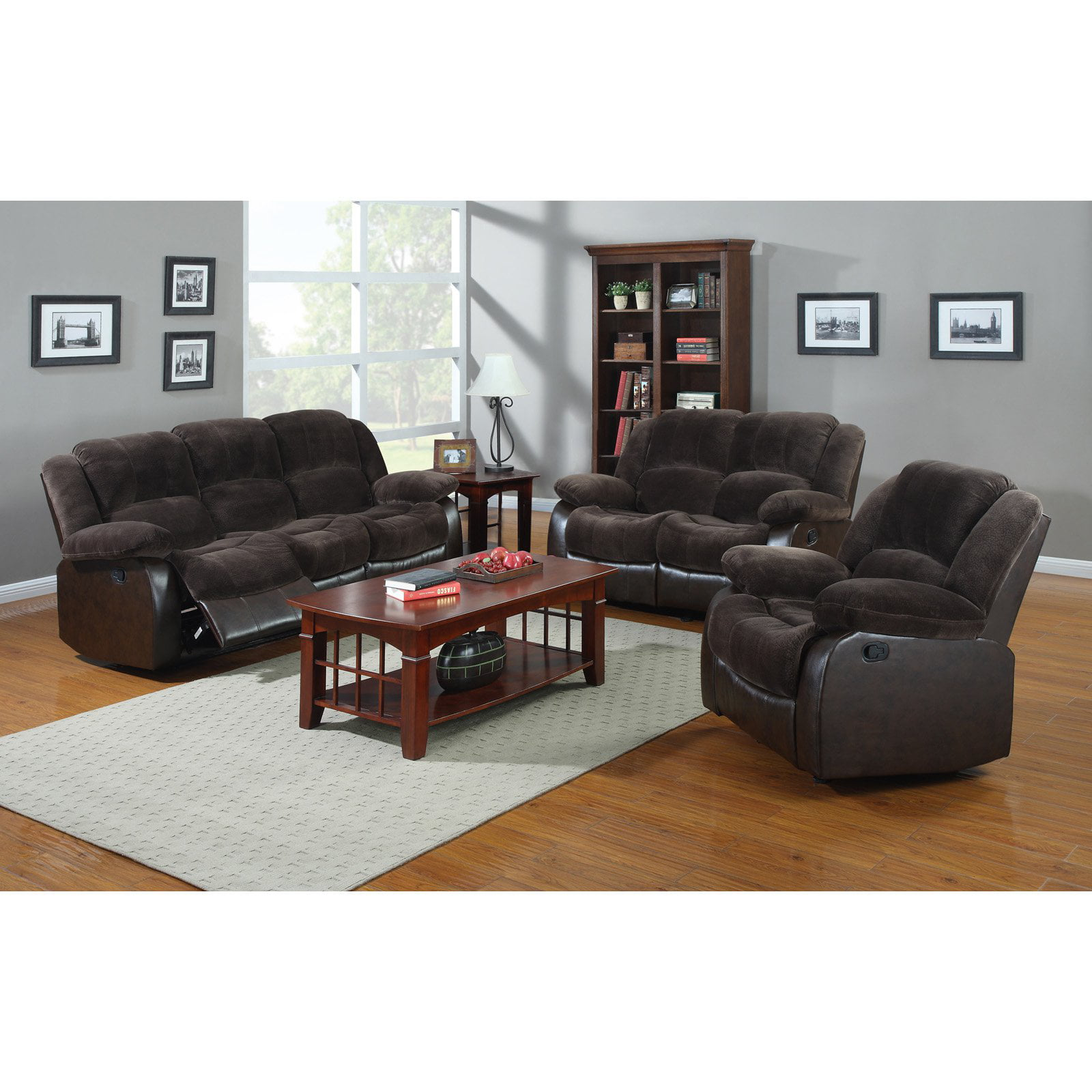 NH Designs 71004B Champion and Faux Leather Sofa Recliner and ...