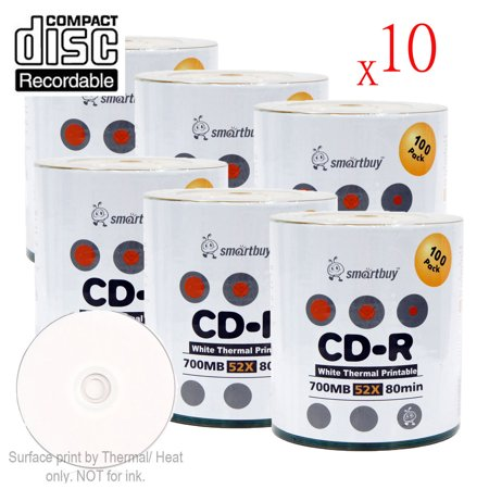 6000 Pack Smartbuy 52X CD-R 700MB 80Min White Thermal Hub Printable Data Blank Media Recordable Disc