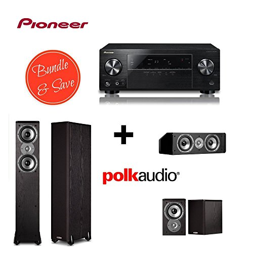 Pioneer VSX-524-K Audio and Video Component Receivers + 2 Polk Audio TSi300 Floorstanding Speaker + Polk Audio TSi100