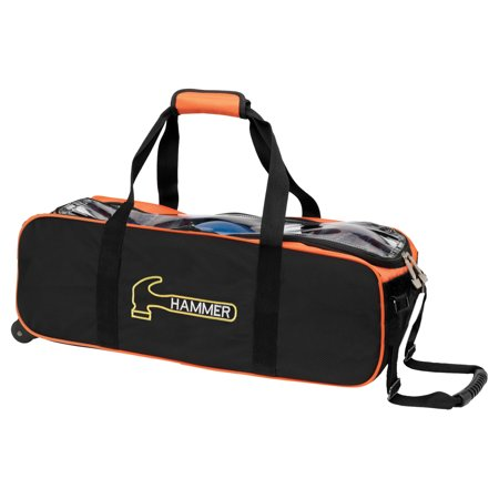 Hammer Triple Tote Roller Bowling Ball Bag Black/Orange (Hammer Ball Bowling Bag)