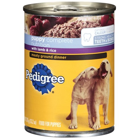 Pedigree Complete Nutrition Meaty Ground Lamb & Rice Dinner Puppy Wet Dog  Food, 13 2 oz
