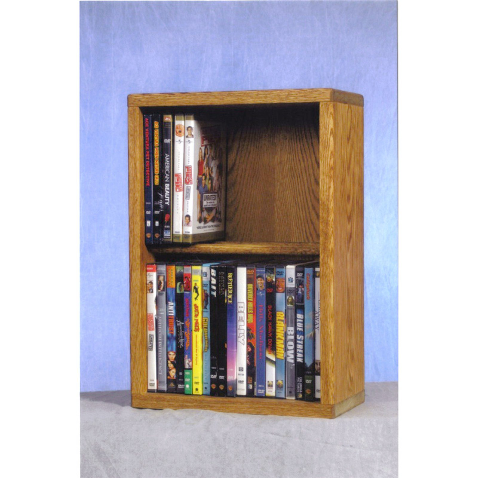 The Wood Shed Solid Oak 2 Row Dowel CD / DVD Combination Media Rack - 12 in. Wide