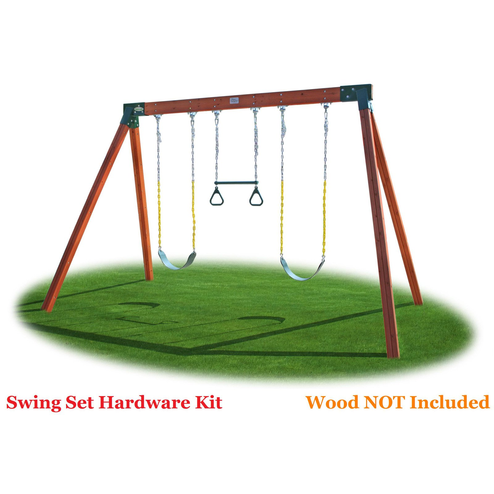 Swing Seats Ring Trapeze Bar and All Assembly Hardware and Instructions Wood Not Included Eastern Jungle Gym DIY Swing Set Hardware Kit with Easy 1-2-3 A-Frame Brackets