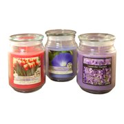 LumaBase Scented Candles- Floral Collection in 18oz Glass Jars (set of 3)