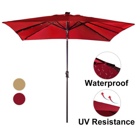 Rectangular Patio Umbrella With Solar Lights New Abba Patio 60 By 60Ft Rectangular Patio Umbrella With 60 Solar