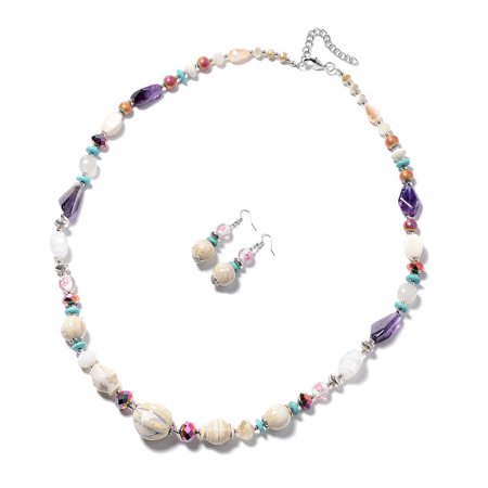 White Ceramic and Bead Earrings and Necklace 32-34