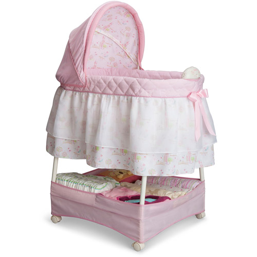 Delta Children Disney Gliding Bassinet, Pink Princess