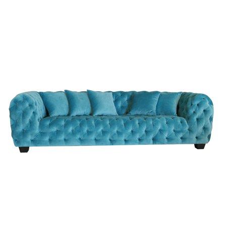 Pasargad Casa Milano Collection Blue Cotton Velvet Button Tufted Sofa