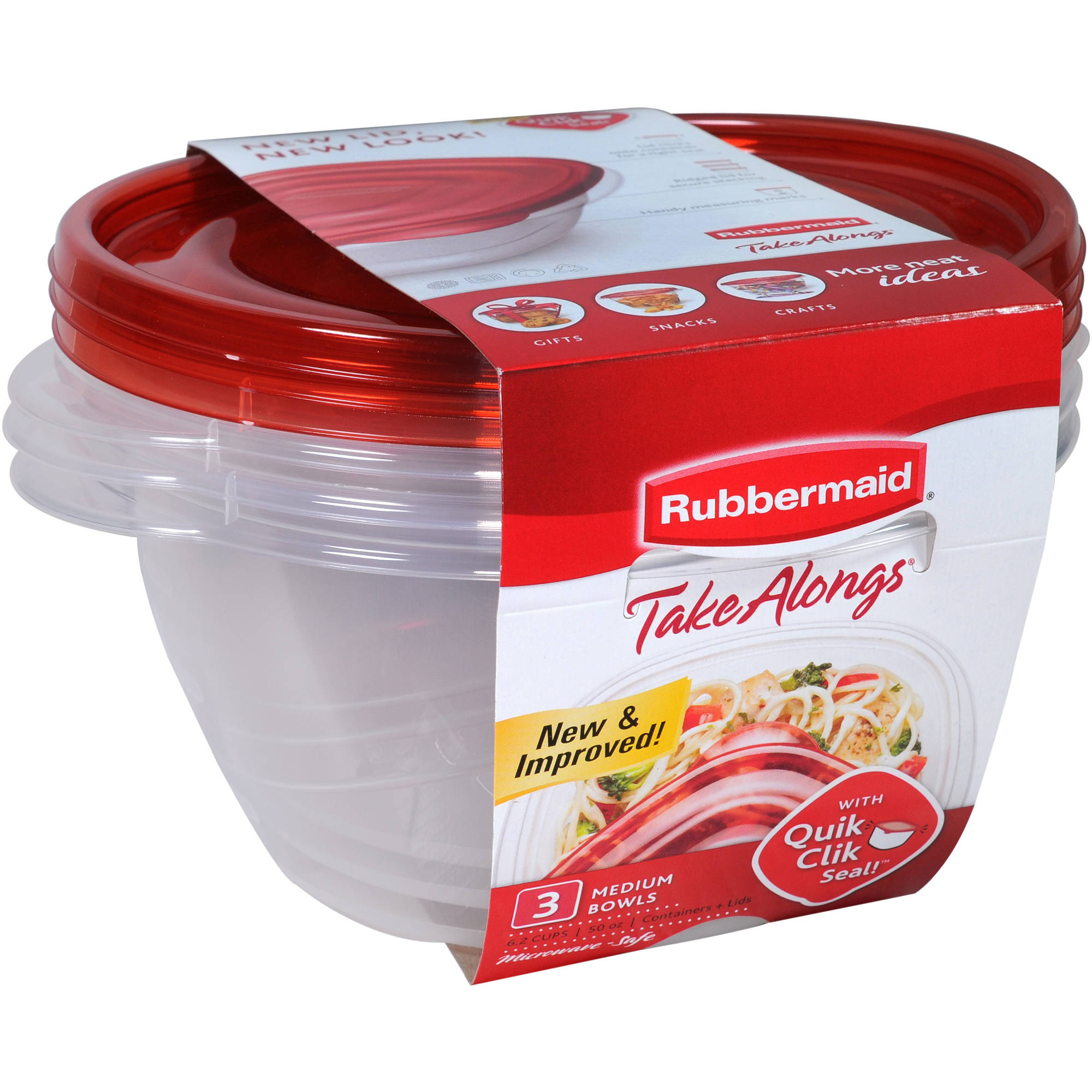 Rubbermaid TakeAlongs Medium Food Storage Bowls, 3 count