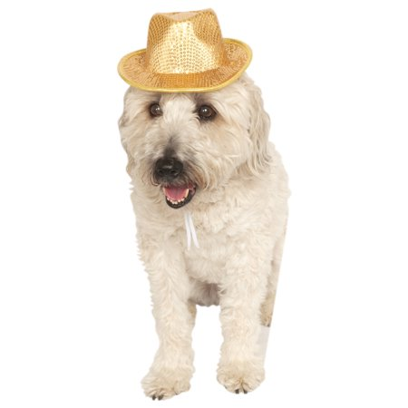 Pets Gold Sequined Dog Cat New Years Costume Fedora Hat-S-M - Golf Fedora