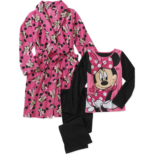 Disney Girls' Minnie Mouse 3 Piece Robe Set