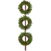 Fraser Hill Farm Set of 3 Holly Berry 24-In. Wreaths with Ornaments and 150 Battery-Operated LED Lights
