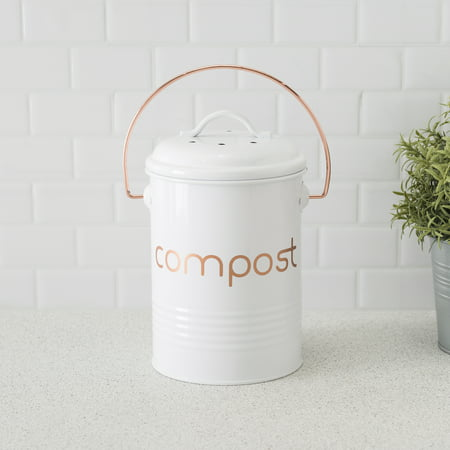 Grove Compact Countertop Compost Bin, White ()