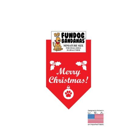 MINI Fun Dog Bandana - Merry Christmas - Miniature Size for Small Dogs under 20 lbs, red pet scarf