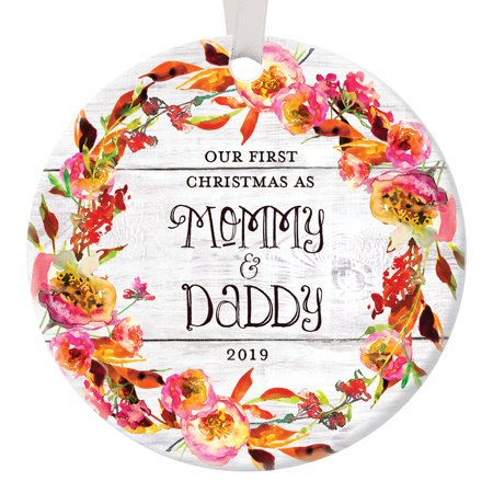 - Rustic New Parents Ornament 2019, Our First Christmas as Mommy and Daddy Ornament 1st Xmas Baby Mom Dad Floral Circle Ceramic Present 3