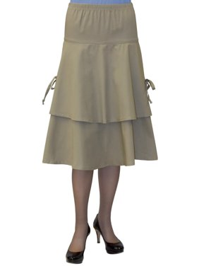 f32febba29 Product Image Baby'O Women's Below the Knee Length Layered Tie Side Apron  Skirt (Khaki)