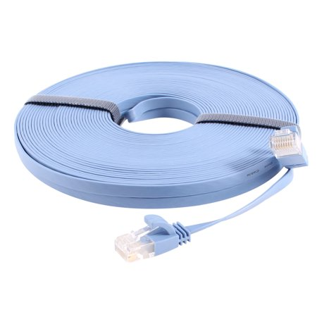 Unique Bargains Pale Blue Flat 20m 65.6ft RJ45 8P8C CAT6 CAT 6a Ethernet Network Lan (Best Cat6 Cable Brand)