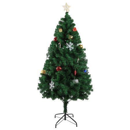 KARMAS PRODUCT 6 ft Classic Pine Artificial Christmas Tree Full 800 Tips PVC Branch with Metal Stand and Xmas Decorations,Green