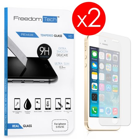 FREEDOMTECH 2-Pack For Apple iPhone SE 5S 5C 5 Brand New High Quality 9H Premium Real HD Tempered Glass Screen Protector LCD Protector Film For iPhone SE 5S 5C 5 - New Lcd Screen Glass