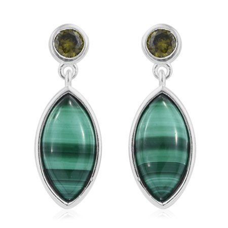 925 Sterling Silver Malachite Peridot Cubic Zirconia CZ Dangle Drop (Azurite Malachite Earrings)