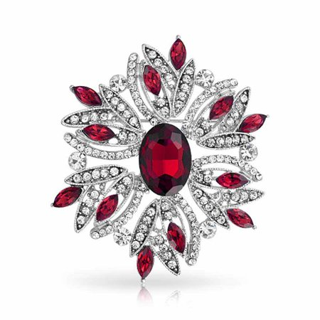 Large Statement Vintage Style Crystal Flower Red White Brooch Pin For Women For Mother Silver - Red Womens Pins