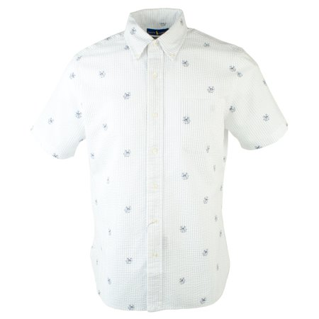 f7b60fba Polo Ralph Lauren Men's Seersucker Dog & Anchor Print Short Sleeve Shirt-W-L  - Walmart.com