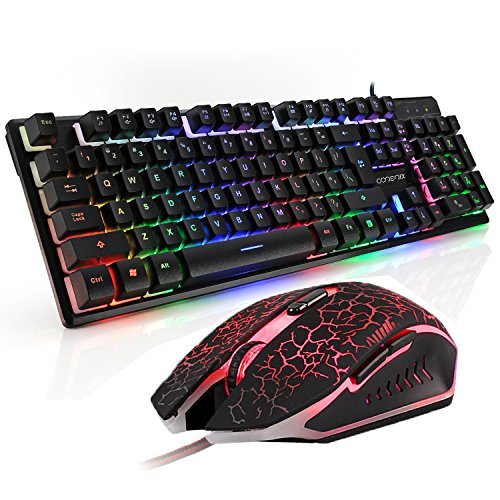 Gaming Keyboard and Mouse Combo, CORERIX Rainbow Color USB Wired Keyboad and Optical Mouse Set for PC and Mac.