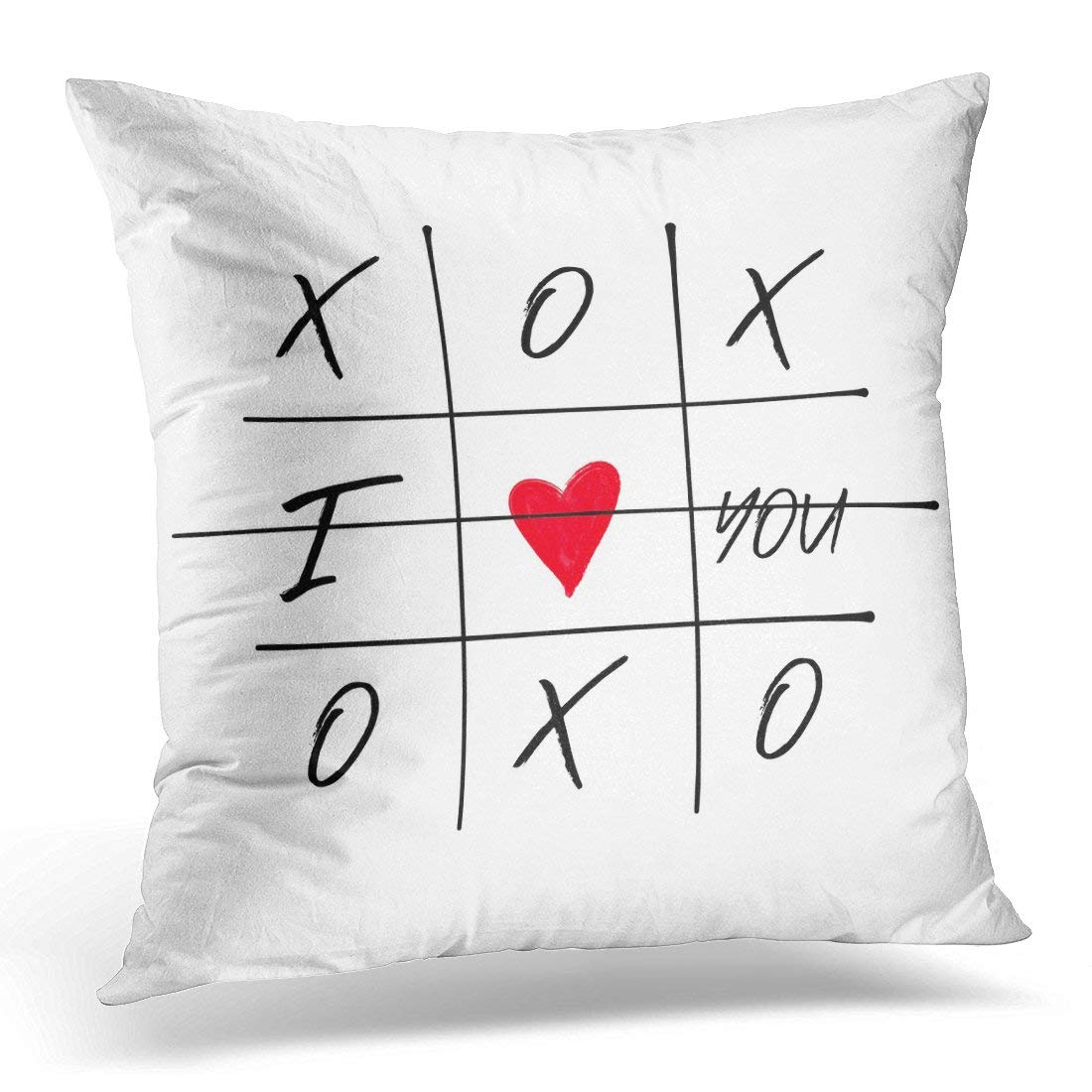 ARHOME Tic Tac Toe Game with Criss Cross and I Love You Red Heart Sign Symbol Brush Doodle Line Happy Valentines Pillow Case Pillow Cover 20x20 inch