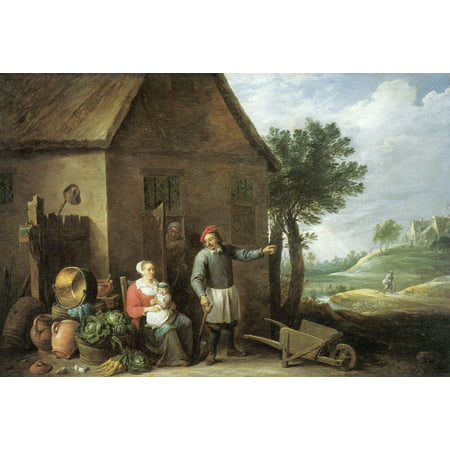 Framed Art for Your Wall Teniers d. J., David - A farming family outside their house 10 x 13