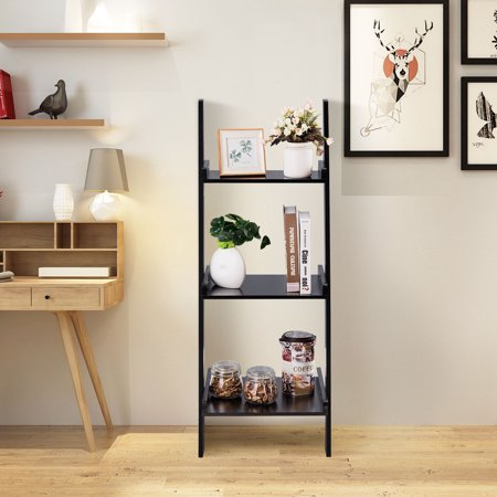 Costway 3 Tier Leaning Rack Wall Ladder Book Shelf Bookcase Storage Display Multipurpose ()
