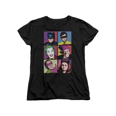 Batman Classic Live-Action TV Series Pop Art Cast Women's T-Shirt Tee (Female Batman)