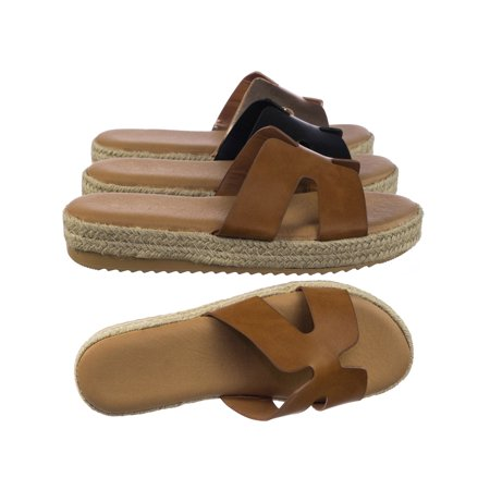 Brown Espadrille - Superb01 by Bamboo, Espadrille Rope Wrap Flatform Platform Slide Slipper w White Outsole