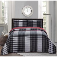 All American Collection New 3pc Plaid Printed Reversible Bedspread/Quilt Set