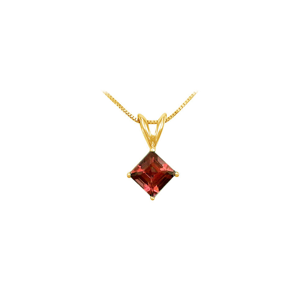 Garnet Solitaire Pendant 14K Yellow Gold 1.00 CT TGW - image 2 of 2