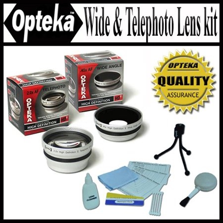 Opteka 0.45x Wide Angle & 2.2x Telephoto HD2 Pro Lens Set for Sony Cyber-shot DSC-H10 H5 H3 H2 H1 F828 F717 F707 Digital (Best Camera Lens For Sports Shots)