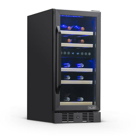 """NewAir 15"""" Built-in 29 Bottle Dual Zone Compressor Wine Fridge in Black Stainless Steel, Quiet Operation with Beech Wood Shelves"""