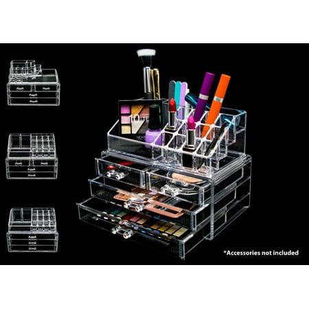 Acrylic Makeup Cosmetic Clear Case, Jewelry 2-Piece Storage Drawer Organizer