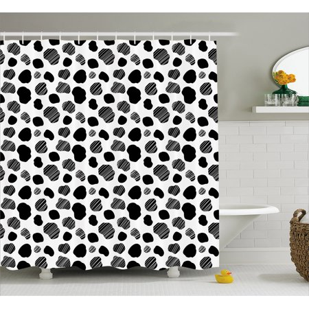 Cow Print Shower Curtain Black And White Striped Dots With Abstract Style Farm Animal Hide