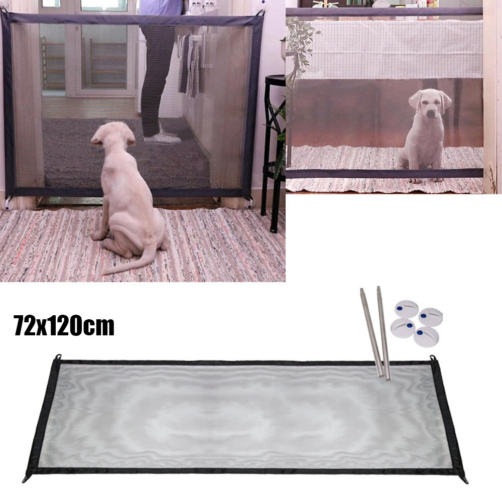Magic Gate Portable Folding Safety Guard For Pets Dog Cat Isolated Gauze