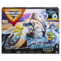 Monster Jam, Official Megalodon Mayhem Playset with Exclusive 1:64 Scale Megalodon Die-Cast Monster Truck (Styles May Vary)