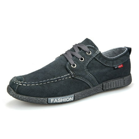 Mens Boat Shoes - Men Canvas Lace Up Loafer Boat Shoes