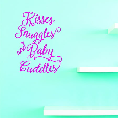 Vinyl Wall Decal Sticker : Kisses Snuggles And Baby Cuddles Home Decor Picture Art 20 x 40 (Cuddle Buddies Wall)