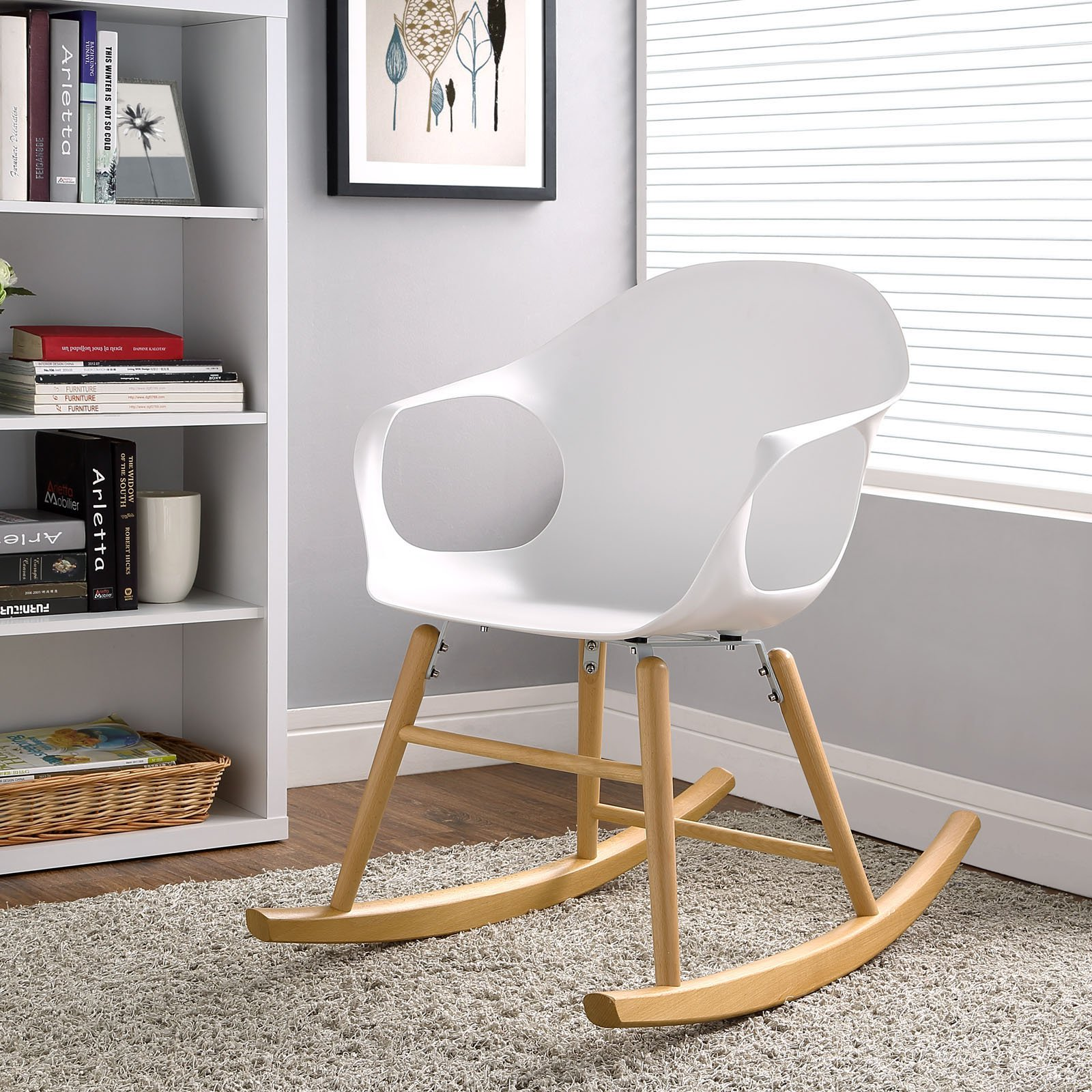 Modway Swerve Modern Rocking Armchair with Wood Legs in White