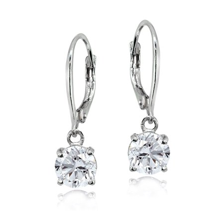 Created White Sapphire Sterling Silver 6mm Round Solitaire Dangle Leverback Earrings Smokey Topaz Stone