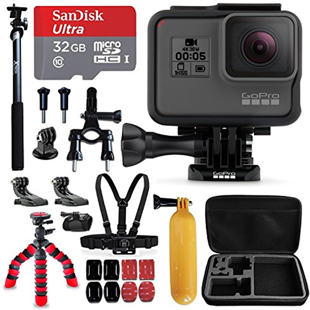 "GoPro HERO5 Black Camera + Sandisk 32GB Micro SD Memory Card + Hard Case + Head Mount + Chest Mount + 12"" Flexible Tripod + Extendable Selfie Stick / Monopod + Bike Mount + Floating Bobber + More"