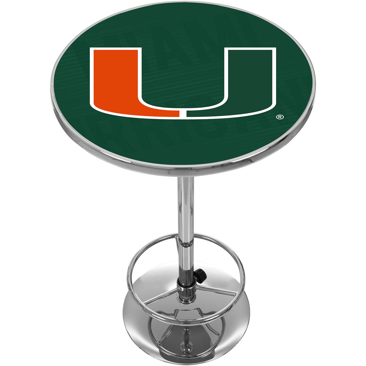University of Miami Chrome Pub Table, Wordmark