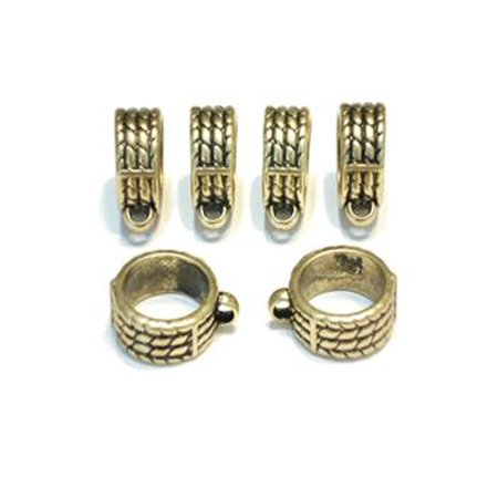 6pcs Scarf Tube Bails Acrylic Antique Gold Tone Slide Pendant Scarf Accessories S03588