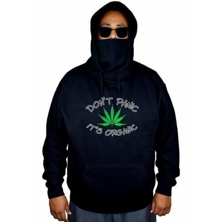 Men's Don't Panic Its Organic Weed Leaf Black Mask Hoodie Sweater X-Large Black