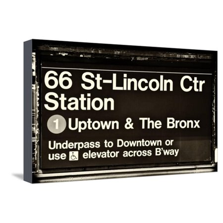 Subway Sign at Times Square, 66 Street Lincoln Station, Manhattan, NYC, White Frame Stretched Canvas Print Wall Art By Philippe Hugonnard ()