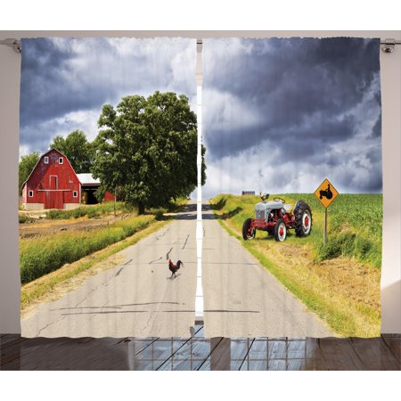 Rural Decor Curtains 2 Panels Set, Farmhouse on Country Road with Barn and Tractor on Side in Stormy Day Picture, Window Drapes for Living Room Bedroom, 108W X 84L Inches, Multicolor, by Ambesonne